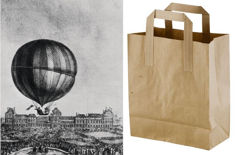 Innovaciones de ayer: el globo aerostático y la bolsa de papel