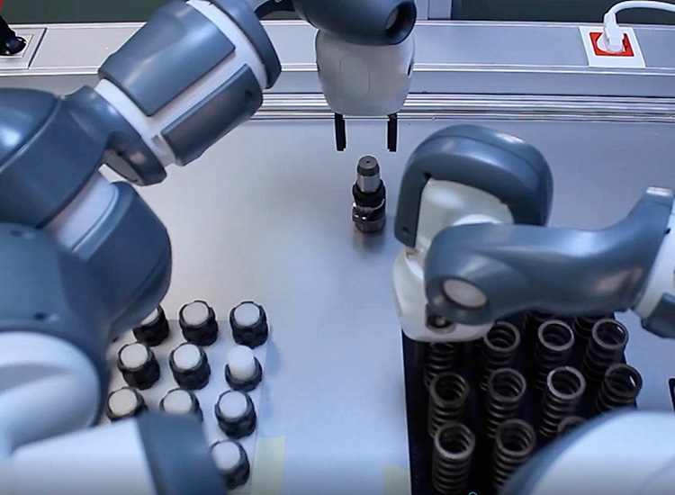 Picking with vision and two-arm collaborative robot