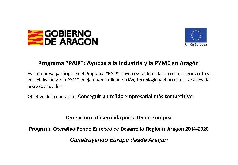 Programa Ayudas a la Industria y a la PYME en Aragón PAIE 2020